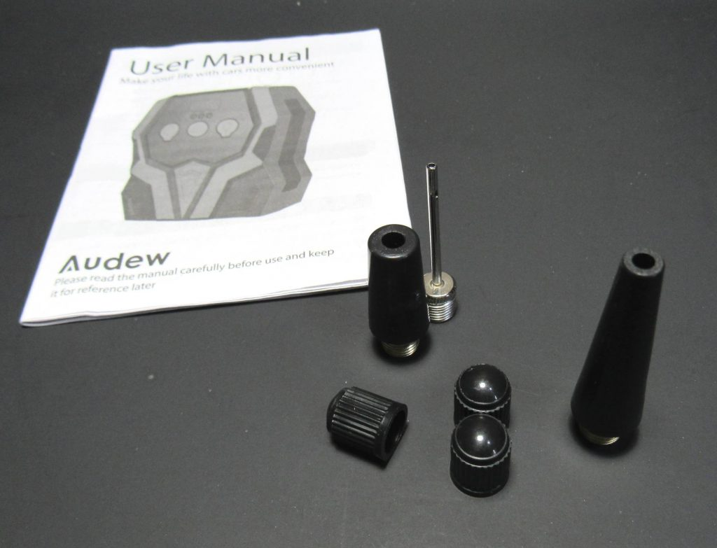 Picture of included contents provided with Audew 12V Air compressor